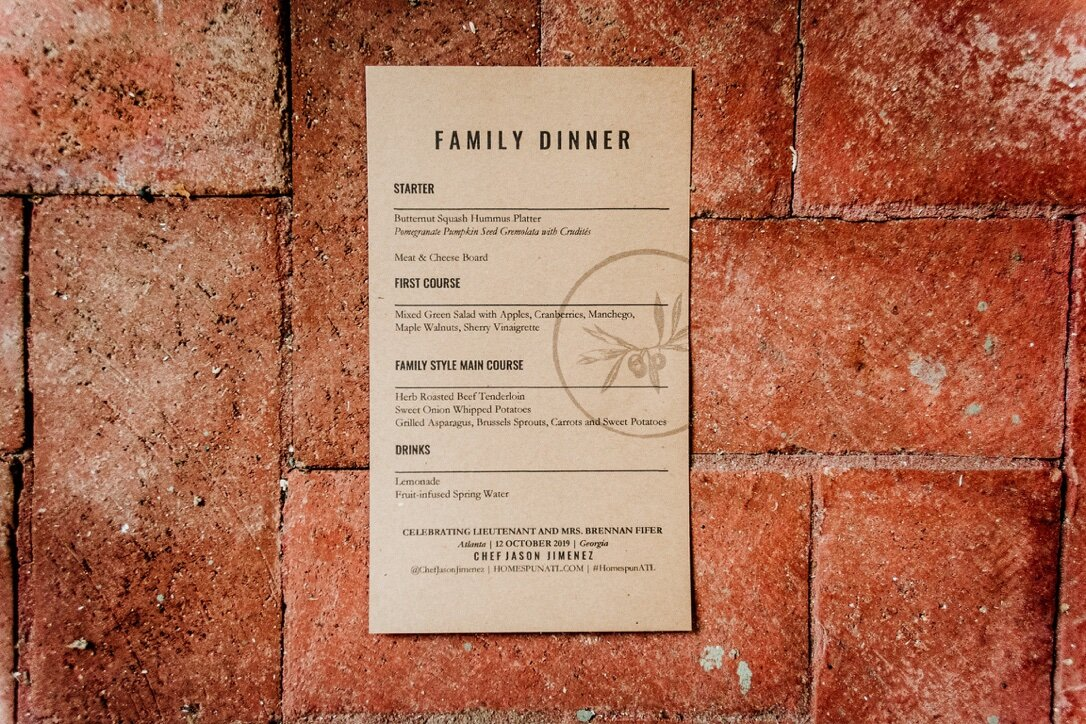 """Family Dinner"" themed wedding menu by Chef Jason Jimenez."